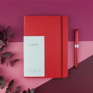 【綠的事務用品】眼色View-25K精裝方格筆記本-紅