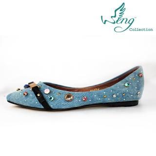 【wengcollection】Orbit Stone丹寧金屬扣飾尖頭平底鞋 淺藍(平底鞋 舒適好穿易走 夏天涼爽)