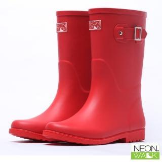 【Neon Walk】經典中筒橡膠靴-紅色(雨鞋 雨靴 長筒雨靴 中筒靴 高筒靴 neonwalk NEON WALK)