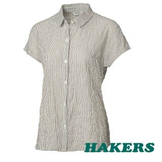 【HAKERS】女 City Smart  都會條紋棉感短袖衫(綠直條)
