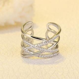 【Angel】雙層交織記憶個性水鑽戒指(白金色玫瑰金)