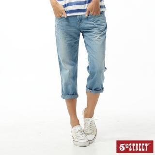 【5th STREET】女1965民俗7分褲-拔洗藍