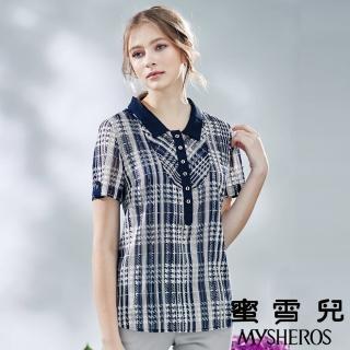 【mysheros 蜜雪兒】翻領半開襟編織格紋亮片襯衫(藍)