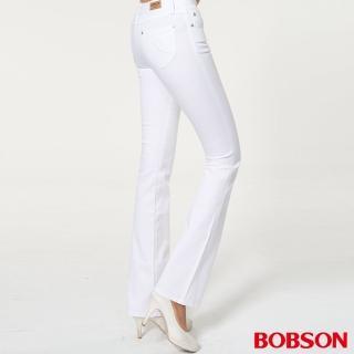 【BOBSON】女款超低腰繡花伸縮小喇叭褲(白938-80)