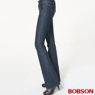 【BOBSON】女款低腰貼口袋中喇叭褲(藍9012-52)