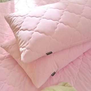【La Belle】《粉漾素色》涼感抑菌防水信封式保潔枕套二入(粉)