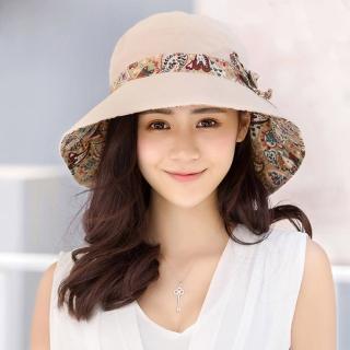 幸福揚邑》愛心紋大帽檐抗UV防紫外線雙面配戴可摺疊遮陽帽-米