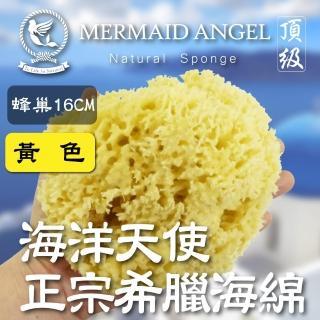 【天然低敏不刺激】Mermaid Angel頂級希臘天然海綿(蜂巢16CM黃色)