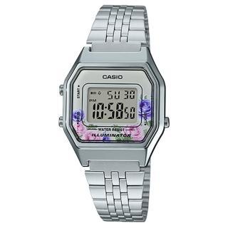 【CASIO 卡西歐】不鏽鋼錶帶 玫瑰花 防水 碼錶功能 全自動月曆(LA680WA-4C)