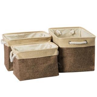 【PolarStar 桃源戶外】PINUS 日系簡約風 棉麻收納籃 收納袋 1717018(咖啡 3入)