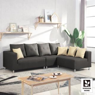 【多瓦娜】瑪丁娜貓抓皮L型沙發-四色