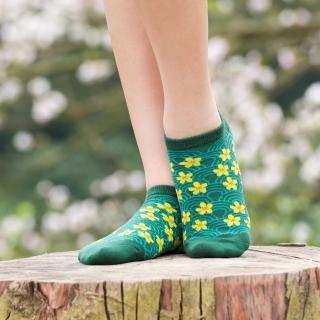 【aPure】浪蕊浮櫻船型襪(綠)