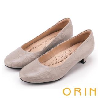 【ORIN】簡約時尚OL 素面牛皮百搭素面低跟鞋(灰色)