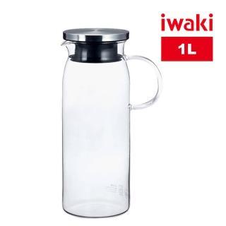【iwaki】日本品牌不鏽鋼系列玻璃把手耐熱玻璃水壺(1000ml)