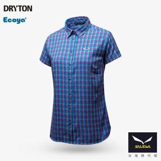 【義大利 SALEWA】PUEZ 女 快乾短袖格紋襯衫(27005-8238 藍系格)