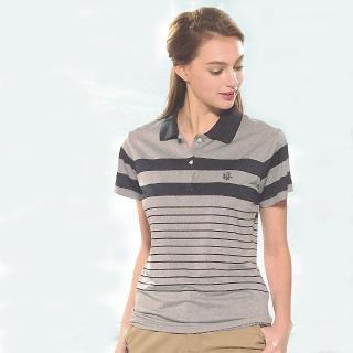 【SINA COVA】女版運動休閒吸濕排汗短POLO衫(灰藍條紋)