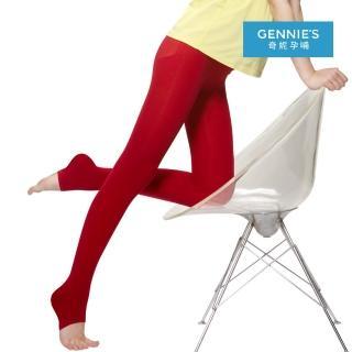 【Gennies 奇妮】孕婦專用時尚彈性厚棉踩腳褲襪/九分褲襪(深灰/紅/深紫/黑GM34)