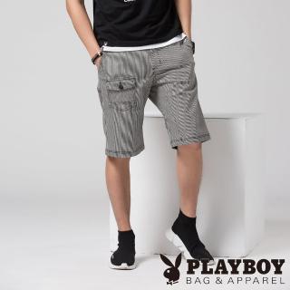 【PLAYBOY】變化條紋丹寧多口袋短褲(黑色)