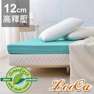 【送棉枕x2+枕套x2】LooCa頂級12cm防蚊+防蹣+超透氣記憶床墊(加大6尺-Greenfirst系列)