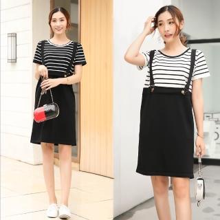 【MsMore】韓系甜美女孩條紋拼接假兩件吊帶洋裝101900*(2色)