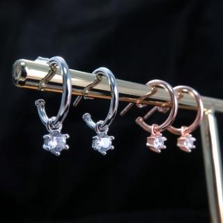 【ART64】彎彎月兒勾垂墬小鑽 純銀耳環 2色可選-白K金/玫瑰金