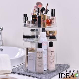 【IDEA】超大容量360度旋轉加厚化妝品多物收納神盒/置物架(桌面收納盒)