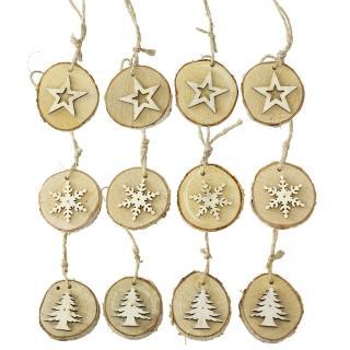 【SPICE】聖誕節木頭吊飾12個/組 星星/雪花/聖誕樹(天然木頭製成/ 獨一無二)