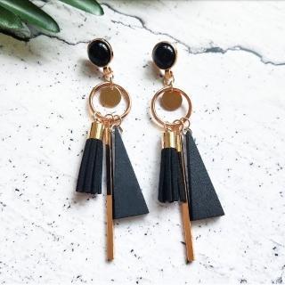 【Ada】幾何木質三角流蘇金屬長條耳環 耳針(垂墜耳環 黑色)