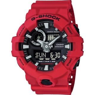 【CASIO 卡西歐】G-SHOCK 金屬元素雙顯手錶-紅(GA-700-4ADR)