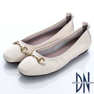 【DN】舒適樂活 真皮竹結金屬飾釦娃娃鞋(白)
