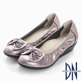 【DN】優雅名媛 真皮蝴蝶結楔型包鞋(錫)