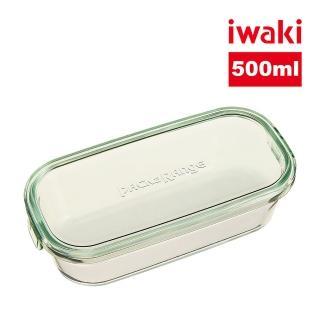 【iwaki】日本耐熱抗菌玻璃長方形微波保鮮盒500ml(綠色)