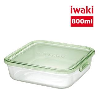 【iwaki】 耐熱抗菌玻璃方形微波保鮮盒800ml 綠色