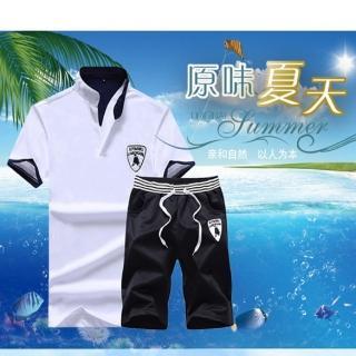【NBL】L03391韓版POLO衫短褲套裝(立領運動休閒套裝)