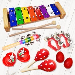 【美佳音樂】奧福打擊樂器/兒童樂器 6件組-紅色(含袋)