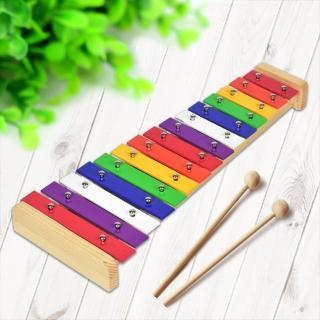 【美佳音樂】奧福打擊樂器 鋁片/原木底座 彩色鐵琴15音-附棒(鐵琴/鋁片敲琴)