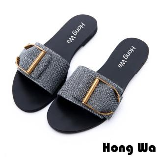【HongWa】時尚金屬英文字釦派對涼拖鞋(銀)
