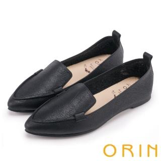 【ORIN】優雅時髦 柔軟牛皮素面尖頭樂福鞋(黑色)