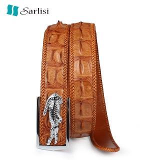 【Sarlisi】真皮泰國鱷魚皮皮帶男士腰帶編織(鱷魚皮皮帶)