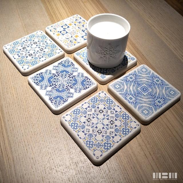 【MBM】花磚珪藻土吸水杯墊_混搭鄉村_單片(多種花色可挑款)/