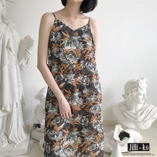 【JILLI-KO】復古印花細肩連身裙-F(灰)
