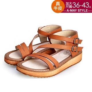 【Amay Style 艾美時尚】涼鞋-真牛皮雙扣帶羅馬厚底涼鞋(棕.預購)