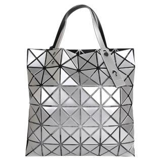 【ISSEY MIYAKE 三宅一生】BAOBAO幾何方格6x6手提包(銀/亮面)