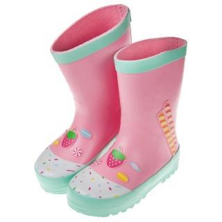 【布布童鞋】草莓甜心薄荷粉色兒童橡膠雨鞋(O8K018G)