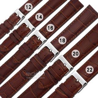 【Watchband】各品牌通用 百搭款 柔軟 壓紋真皮錶帶(紅棕色)