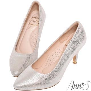 【Ann'S】輕熟名媛3D氣墊閃耀羊皮尖頭高跟鞋(銀)