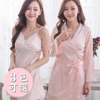 【IMACO】柔情魅惑絲綢感居家睡衣袍2件式(3款可選)