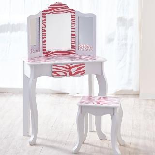 【Teamson】吉賽兒時尚斑馬紋化妝桌椅組(粉紅色)