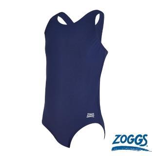 【Zoggs】少女素色連身運動競技泳衣-藍