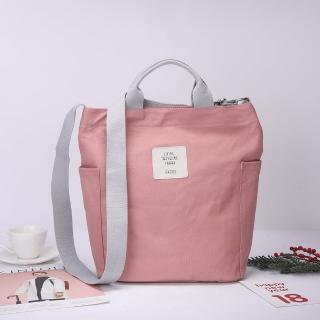 【VIVI SECRET】清新色系斜背手提帆布包(共4色加厚帆布材質)